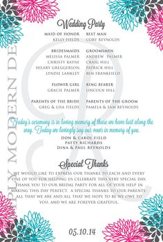 modern double sided wedding program by xSimplyModernDesignx