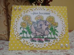 Smiling piggy and sunflower card by LuvinItCREATIONS on Etsy