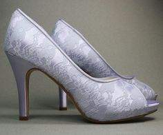 Wedding Shoes  Lilac Peep Toe Wedding Shoes von DesignYourPedestal, $100.00