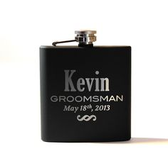 Personalized Flask, Groomsmen Gift, Best Man Fask, Engraved Stainless Steel Flask, Monogram Flask, 1 Flask. $16.00, via Etsy.