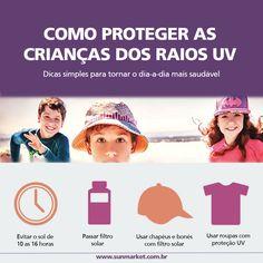 Dicas práticas para proteger as crianças dos raios solares UVA e UVB. Chapéus, bonés e camisetas com filtro solar podem ser adquiridos em nosso site www.sunmarket.com.br