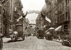 New York, May 16, 1908. Italian festa. Mott Street decorated for religious feast.