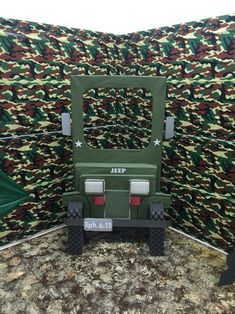 Our jeep photo opt for vbs boot camp Camouflage Birthday Party, Army Themed Birthday, Godzilla Birthday Party, Army Birthday Parties, Army's Birthday, Camo Party, Birthday Party Themes, Army Party Decorations, Soldier Party