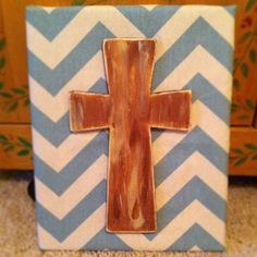 cross. chevron. canvas art. DIY