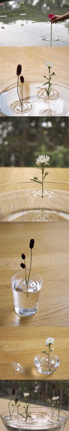 'floating ripple vases' by oodesign  shaped like ripples in water, the vases by japanese oodesign allows users to place flowers into a PET formed resin void - floating nonchalantly on the water. according to the movement of the air,  the plants change their position within the container.