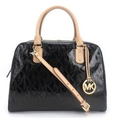 Michael Kors MK Signature Large Patent Satchel  Michael Kors MK Signature Large Patent Black Satchel   Used once in Great New Condition no scratches at all , the strap has never been used , paper on the strap is still attached .  Don't have dimensions yet , I'll post info when I get it . Michael Kors Bags Satchels