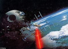 Space lasers: Dr Adrian Quarterman has suggested space lasers could be used to power homes in the future - but says the beams will be nowhere near as powerful as imagined in films like Star Wars (pictured)