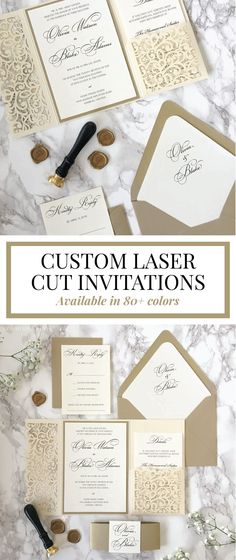 Laser cut wedding invitations are trendy in 2018! Pair with a classic wax seal to complement the intricate lace design! Laser cut wedding invitations, elegant wedding, wax seals, formal, luxury, classy #elegantformalweddinginvitationsclassy
