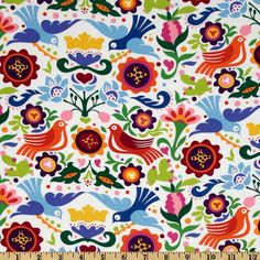 Folklorico Fiesta La Paloma Multi - Discount Designer Fabric - Fabric.com