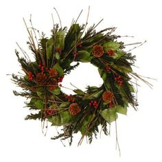 Floral Treasure Holiday Vintage Wreath - 18.5 in. by Floral Treasure. $59.99. Made of cedar, pinecones, salal leaves, and more. Measures 18.5 diam. inches. Best for decorative indoor use. Classic wreath shape. Natural red and green colors for holiday season. The unique beauty of Floral Treasure Floral Treasure grows a variety of flowers, eucalyptus, herbs and grains. They then design unique and beautiful floral arrangements using their own flowers that ...