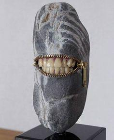 It's a bit macabre, but those teeth and the zipper make me laugh. ~ Sculpture by Hirotoshi Ito Art Rupestre, Art Pierre, Japanese Artists, Art Plastique, Stone Art, Rock Art, Oeuvre D'art, Art Forms, Contemporary Art