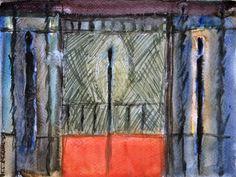 Le Balcon Rouge - 18 x 24 cm, Aquarelle et crayon sur papier