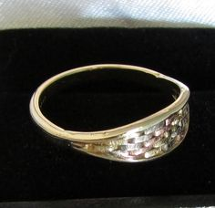 Vintage Italian Woven Tri-Color Solid Gold Ring  Very by Ringtique