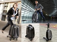 How much fun would you have with these suitcases? You wouldn't miss a flight with these wheels! #travel #suitcases #gadgets