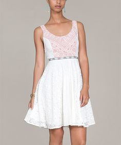 Another great find on #zulily! White Embroidered Scoop Neck Dress by Flying Tomato #zulilyfinds