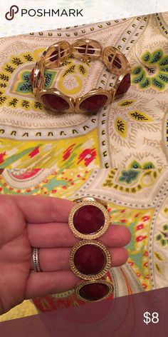 Maroon and gold bracelet Matches the necklace I have listed with grey/maroon and gold Jewelry Bracelets