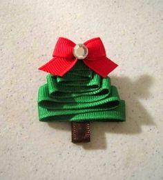 ribbon tree hair clip W/instructions. Ribbon On Christmas Tree, Christmas Hair, All Things Christmas, Winter Christmas, Christmas Holidays, Christmas Crafts, Xmas, Holiday Hair, Ribbon Crafts