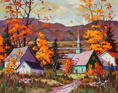 Claude Langevin Autumn Painting, Autumn Art, Fall Paintings, Storybook Cottage, Autumn Scenes, Z Arts, Canadian Artists, Learn To Paint, Watercolor Art