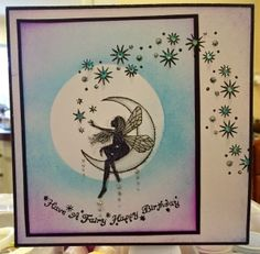Featuring Lavinia Stamps' Moon Fairy SKU 481036, available at www.addictedtorubberstamps.com Card created by Jo Molyneux.