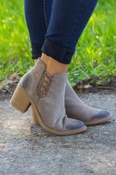 What You Need Booties: Taupe - These ankle booties feature an oil distress, caged spandex designed sides to…