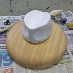 prepared crown block - making a styrofoam hat block