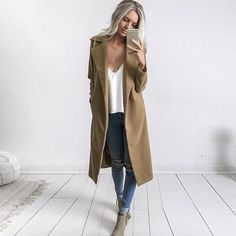 Casual Long Wool Blend Coat S - XL