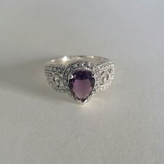 Vintage Pear Shaped Amethyst Ring Sterling Silver Vintage Amethyst Ring Size 8 Jewelry Rings