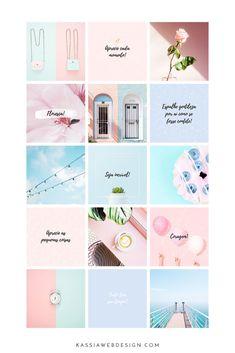 Serenity - Kit for Organized Feed - Kassia Web Design - Ronald Delisle Layout Do Instagram, Social Media Instagram, Instagram Feed Ideas Posts, Feeds Instagram, Instagram Grid, Pink Instagram, Instagram Design, Instagram Story Ideas, Mood Instagram