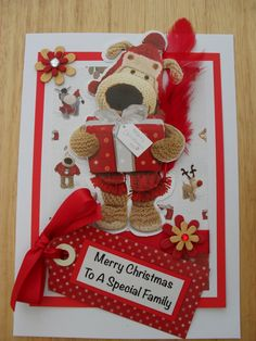 Handmade Boofle christmas card (design 2) greeting can be changed to your own personal requirement with ribbon and gem detail