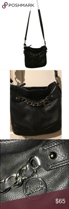 Coach black crossbody leather purse shoulder bag Coach black crossbody leather purse shoulder bag with silver hardware    Very cute Coach cross body bag with silver hardware. Perfect for travel or everyday for style and keeping your items secure. I only used this bag during one trip. Top zipper close.     Very cute, classic coach purse!     Thanks for looking, please let me know if you have any questions! Coach Bags Shoulder Bags