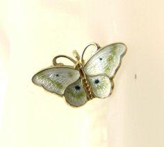 Vintage Hroar Prydz Norway Sterling Silver Guilloche Enamel Butterfly Pendant | eBay