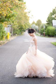 Blush Monique Lhuillier Ball Gown for a Romantic Carneros Inn Wedding