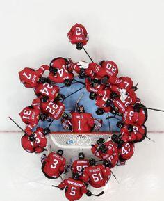 DAY 12:  Team Switzerland during the Ice Hockey Men's Playoff Qualifications - Latvia vs. Switzerland http://sports.yahoo.com/olympics
