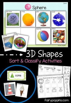Hands-on sorting activities that teach kids about shapes will real life objects. Includes fun sorting activities and worksheets. Shape Activities Kindergarten, 3d Shapes Activities, Geometry Activities, Early Learning Activities, Sorting Activities, Kindergarten Centers, Preschool Math, Autism Activities, Baby Learning