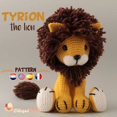 Lion Crochet PATTERN Amigurumi patterns pdf tutorial - TYRION the lion - Please note that this is a crochet pattern, NOT the finished toy. The PDF amigurumi lion tutorial - Crochet Lion, Crochet Giraffe Pattern, Crochet Animal Amigurumi, Cat Pattern, Crochet Patterns Amigurumi, Cute Crochet, Crochet Animals, Crochet Dolls, Crochet Turtle