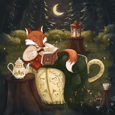 Fox with cup of tea in magic forest digital illustration