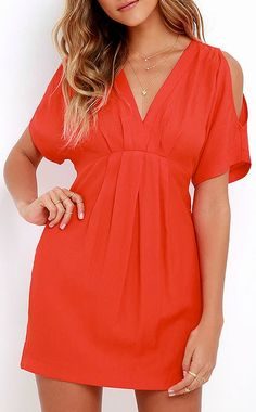 If you're looking to add some serious color pop to that wardrobe of yours, the Game Changer Coral Red Dress has got it covered! Lightweight woven fabric creates a darted V neckline, short sleeves with cold shoulder cutouts, and a fitted waist. #lovelulus