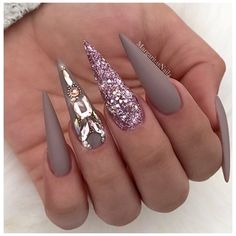 Matte Taupe Rose Gold Bling Stiletto Nails by MargaritasNailz