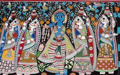 Madhubani Art, Madhubani Painting, Indian Art Paintings, Abstract Paintings, Indian Art Traditional, Indian Folk Art, Krishna Painting, India Art, Portrait Sketches