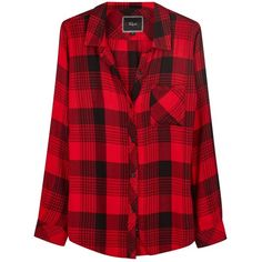 Womens Shirts Rails Hunter Red Checked Flannel Shirt ($210) ❤ liked on Polyvore featuring tops, shirt top, red checked shirt, flannel tops, flannel shirt and checkered top