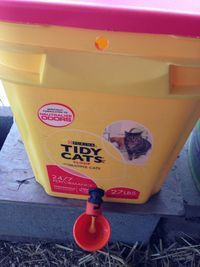 Make your own - No waste - 5 gallon (25# feed) bucket feeder for about $3