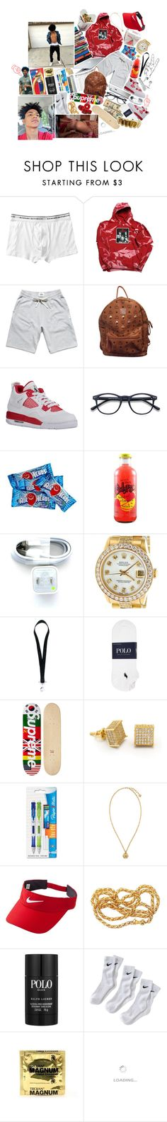 """😎💤."" by s-wishersweets ❤ liked on Polyvore featuring Banana Republic, Reigning Champ, MCM, Rolex, 7 For All Mankind, Givenchy, Polo Ralph Lauren, King Ice, Paper Mate and Versace"