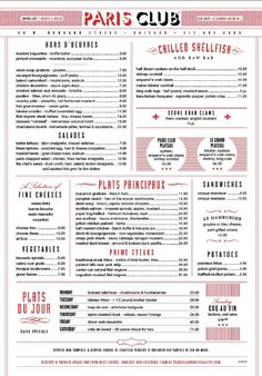 Paris Club || Chicago menu design #graphic #design #restaurant #menu #red #white #retro