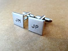 Personalized Square Cufflinks    - Squares are made with Pure Aluminum and are tumbled to a nice shine  - Squares are about 9/16 inch (about 14 mm)