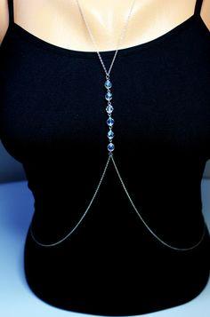 KIM KARDASHIAN   CRYSTAL  Silver Body Chain by NightingaleWorkshop, $25.00