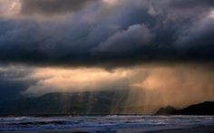 Resolución costa Paisajes tormenta de lluvia Nubes Océano Mar HD ...