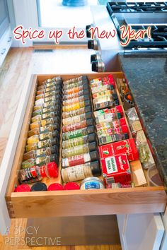 replace your spice rack with a spice drawer - much easier to see what everything is!