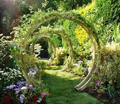 This freestanding flower circle from Grange Fencing is made from pressure-treated timber beams, connected with stainless steel rods to create a sculptural arch. Rockery Garden, Garden Landscaping, Rockery Stones, Landscape Design, Garden Design, Moon Gate, The Secret Garden, Flower Circle, Garden Cottage