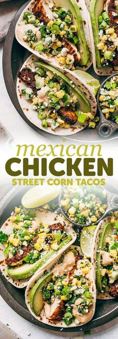 It's when esquites or street corn salad meets chicken tacos! These chipotle chicken tacos are loaded up with a simple roasted corn salad and topped with chipotle mayo! Low Carb Tacos, Healthy Tacos, Healthy Recipes, Mexican Food Recipes, Dinner Recipes, Cooking Recipes, Healthy Chicken Tacos, Yummy Recipes, Toco Recipes