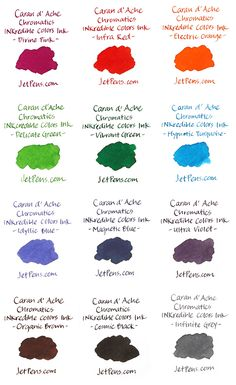 Caran d'Ache Chromatics INKredible Colors Ink swatches